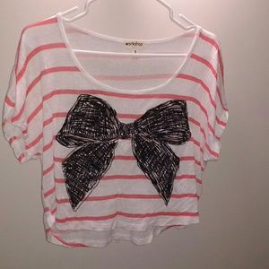 Striped bow crop tee